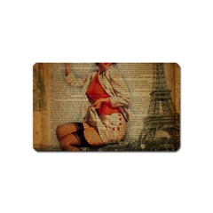 Vintage Newspaper Print Pin Up Girl Paris Eiffel Tower Funny Vintage Retro Nurse  Magnet (name Card) by chicelegantboutique