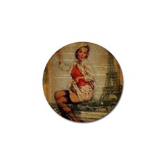 Vintage Newspaper Print Pin Up Girl Paris Eiffel Tower Funny Vintage Retro Nurse  Golf Ball Marker by chicelegantboutique