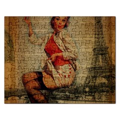 Vintage Newspaper Print Pin Up Girl Paris Eiffel Tower Funny Vintage Retro Nurse  Jigsaw Puzzle (rectangle) by chicelegantboutique