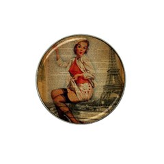 Vintage Newspaper Print Pin Up Girl Paris Eiffel Tower Funny Vintage Retro Nurse  Golf Ball Marker (for Hat Clip) by chicelegantboutique