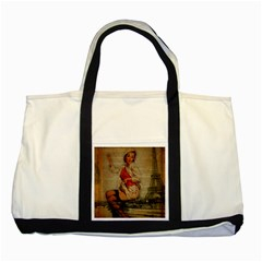 Vintage Newspaper Print Pin Up Girl Paris Eiffel Tower Funny Vintage Retro Nurse  Two Toned Tote Bag