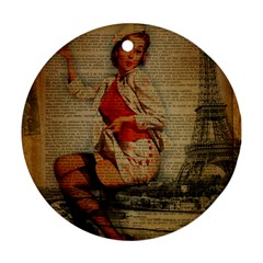 Vintage Newspaper Print Pin Up Girl Paris Eiffel Tower Funny Vintage Retro Nurse  Round Ornament (two Sides) by chicelegantboutique