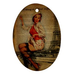 Vintage Newspaper Print Pin Up Girl Paris Eiffel Tower Funny Vintage Retro Nurse  Oval Ornament (two Sides) by chicelegantboutique