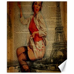 Vintage Newspaper Print Pin Up Girl Paris Eiffel Tower Funny Vintage Retro Nurse  Canvas 8  X 10  (unframed) by chicelegantboutique