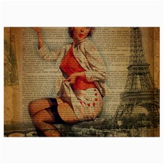 Vintage Newspaper Print Pin Up Girl Paris Eiffel Tower Funny Vintage Retro Nurse  Canvas 12  X 18  (unframed) by chicelegantboutique