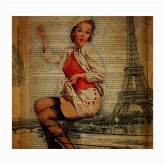 Vintage Newspaper Print Pin Up Girl Paris Eiffel Tower Funny Vintage Retro Nurse  Canvas 16  X 20  (unframed) by chicelegantboutique