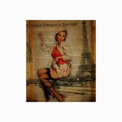 Vintage Newspaper Print Pin Up Girl Paris Eiffel Tower Funny Vintage Retro Nurse  Canvas 20  X 30  (unframed) by chicelegantboutique