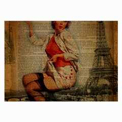 Vintage Newspaper Print Pin Up Girl Paris Eiffel Tower Funny Vintage Retro Nurse  Glasses Cloth (large) by chicelegantboutique
