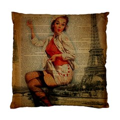 Vintage Newspaper Print Pin Up Girl Paris Eiffel Tower Funny Vintage Retro Nurse  Cushion Case (two Sided)