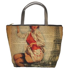 Vintage Newspaper Print Pin Up Girl Paris Eiffel Tower Funny Vintage Retro Nurse  Bucket Bag