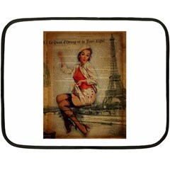 Vintage Newspaper Print Pin Up Girl Paris Eiffel Tower Funny Vintage Retro Nurse  Mini Fleece Blanket (two Sided) by chicelegantboutique