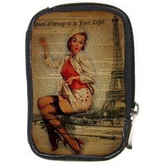 Vintage Newspaper Print Pin Up Girl Paris Eiffel Tower Funny Vintage Retro Nurse  Compact Camera Leather Case by chicelegantboutique