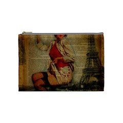 Vintage Newspaper Print Pin Up Girl Paris Eiffel Tower Funny Vintage Retro Nurse  Cosmetic Bag (medium) by chicelegantboutique
