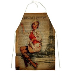 Vintage Newspaper Print Pin Up Girl Paris Eiffel Tower Funny Vintage Retro Nurse  Apron