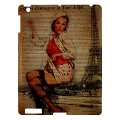 Vintage Newspaper Print Pin Up Girl Paris Eiffel Tower Funny Vintage Retro Nurse  Apple Ipad 3/4 Hardshell Case by chicelegantboutique