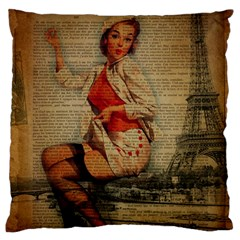 Vintage Newspaper Print Pin Up Girl Paris Eiffel Tower Funny Vintage Retro Nurse  Large Cushion Case (single Sided)  by chicelegantboutique
