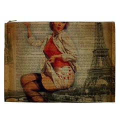 Vintage Newspaper Print Pin Up Girl Paris Eiffel Tower Funny Vintage Retro Nurse  Cosmetic Bag (xxl) by chicelegantboutique
