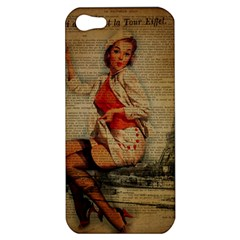 Vintage Newspaper Print Pin Up Girl Paris Eiffel Tower Funny Vintage Retro Nurse  Apple Iphone 5 Hardshell Case by chicelegantboutique
