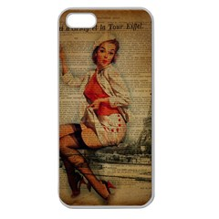 Vintage Newspaper Print Pin Up Girl Paris Eiffel Tower Funny Vintage Retro Nurse  Apple Seamless Iphone 5 Case (clear) by chicelegantboutique