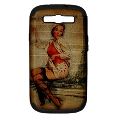 Vintage Newspaper Print Pin Up Girl Paris Eiffel Tower Funny Vintage Retro Nurse  Samsung Galaxy S Iii Hardshell Case (pc+silicone)