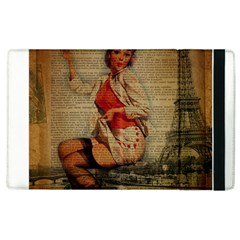 Vintage Newspaper Print Pin Up Girl Paris Eiffel Tower Funny Vintage Retro Nurse  Apple Ipad 3/4 Flip Case by chicelegantboutique