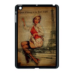 Vintage Newspaper Print Pin Up Girl Paris Eiffel Tower Funny Vintage Retro Nurse  Apple Ipad Mini Case (black) by chicelegantboutique
