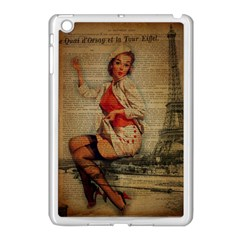 Vintage Newspaper Print Pin Up Girl Paris Eiffel Tower Funny Vintage Retro Nurse  Apple Ipad Mini Case (white) by chicelegantboutique