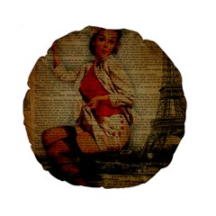 Vintage Newspaper Print Pin Up Girl Paris Eiffel Tower Funny Vintage Retro Nurse  15  Premium Round Cushion  by chicelegantboutique