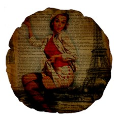 Vintage Newspaper Print Pin Up Girl Paris Eiffel Tower Funny Vintage Retro Nurse  18  Premium Round Cushion  by chicelegantboutique