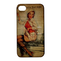 Vintage Newspaper Print Pin Up Girl Paris Eiffel Tower Funny Vintage Retro Nurse  Apple Iphone 4/4s Hardshell Case With Stand