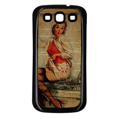 Vintage Newspaper Print Pin Up Girl Paris Eiffel Tower Funny Vintage Retro Nurse  Samsung Galaxy S3 Back Case (black) by chicelegantboutique