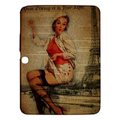Vintage Newspaper Print Pin Up Girl Paris Eiffel Tower Funny Vintage Retro Nurse  Samsung Galaxy Tab 3 (10 1 ) P5200 Hardshell Case  by chicelegantboutique