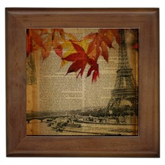 Elegant Fall Autumn Leaves Vintage Paris Eiffel Tower Landscape Framed Ceramic Tile by chicelegantboutique