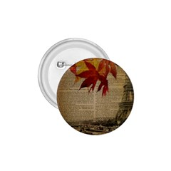 Elegant Fall Autumn Leaves Vintage Paris Eiffel Tower Landscape 1 75  Button