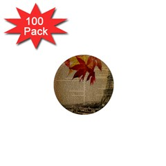Elegant Fall Autumn Leaves Vintage Paris Eiffel Tower Landscape 1  Mini Button Magnet (100 Pack)