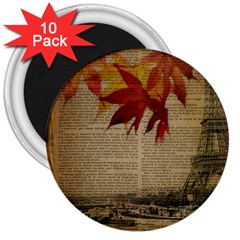 Elegant Fall Autumn Leaves Vintage Paris Eiffel Tower Landscape 3  Button Magnet (10 Pack) by chicelegantboutique
