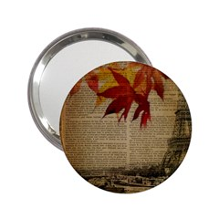 Elegant Fall Autumn Leaves Vintage Paris Eiffel Tower Landscape Handbag Mirror (2 25 ) by chicelegantboutique
