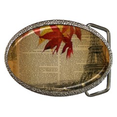 Elegant Fall Autumn Leaves Vintage Paris Eiffel Tower Landscape Belt Buckle (oval) by chicelegantboutique
