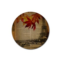 Elegant Fall Autumn Leaves Vintage Paris Eiffel Tower Landscape Drink Coaster (round) by chicelegantboutique