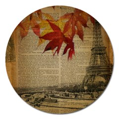 Elegant Fall Autumn Leaves Vintage Paris Eiffel Tower Landscape Magnet 5  (round) by chicelegantboutique
