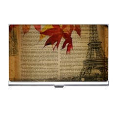 Elegant Fall Autumn Leaves Vintage Paris Eiffel Tower Landscape Business Card Holder by chicelegantboutique