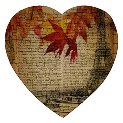 Elegant Fall Autumn Leaves Vintage Paris Eiffel Tower Landscape Jigsaw Puzzle (heart) by chicelegantboutique