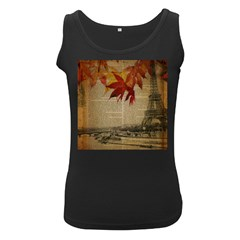 Elegant Fall Autumn Leaves Vintage Paris Eiffel Tower Landscape Womens  Tank Top (black)