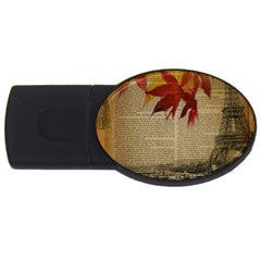 Elegant Fall Autumn Leaves Vintage Paris Eiffel Tower Landscape 4gb Usb Flash Drive (oval) by chicelegantboutique