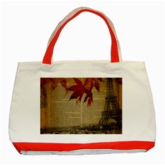 Elegant Fall Autumn Leaves Vintage Paris Eiffel Tower Landscape Classic Tote Bag (red)