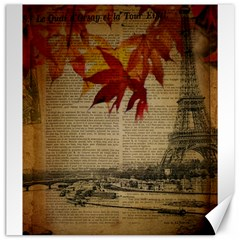 Elegant Fall Autumn Leaves Vintage Paris Eiffel Tower Landscape Canvas 20  X 20  (unframed) by chicelegantboutique