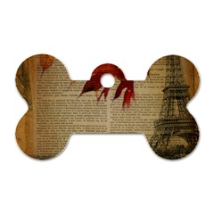 Elegant Fall Autumn Leaves Vintage Paris Eiffel Tower Landscape Dog Tag Bone (two Sided) by chicelegantboutique