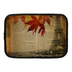 Elegant Fall Autumn Leaves Vintage Paris Eiffel Tower Landscape Netbook Case (medium) by chicelegantboutique