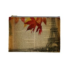 Elegant Fall Autumn Leaves Vintage Paris Eiffel Tower Landscape Cosmetic Bag (large)