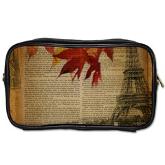 Elegant Fall Autumn Leaves Vintage Paris Eiffel Tower Landscape Travel Toiletry Bag (two Sides)